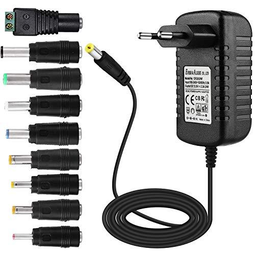 EFISH DC Netzteil 12V 2A 24W,AC 100-240V bis DC 12V Netzkabel tragbares Ladegerät für LED-Streifen,Fischbecken,Radiowecker,Scanner,Schalter,Router,Lautsprecher,T-Com+7 Verschiedene Adapterköpfe