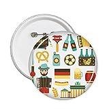 DIYthinker Botón del fútbol de la cerveza Salchicha acordeón Brasil Cultural Elemento pernos redondos Placa Ropa Decoración 5Pcs regalo XXL Multicolor