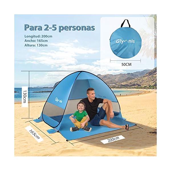 Glymnis Tienda de Playa Pop Up 2-5 Personas Tienda Instantánea Automática Tienda de Playa Portátil UPF 50+ de Gran… 2