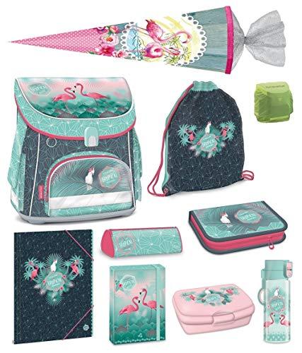 Familando Mädchen Schulranzen-Set 10 TLG. Federmappe Turnbeutel Schultüte 85cm Regenschutz Tropical Flamingo türkis pink
