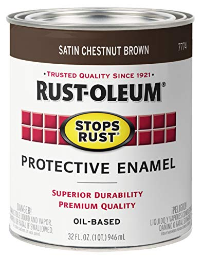 Rust-Oleum 7774502 Stops Rust Brush On Paint, Quart, Satin Chestnut Brown