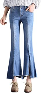 RXF Flare Jeans Women's Light Color Thin Stretch Cropped Pants Tassel (Color : 1#, Tamaño : L)