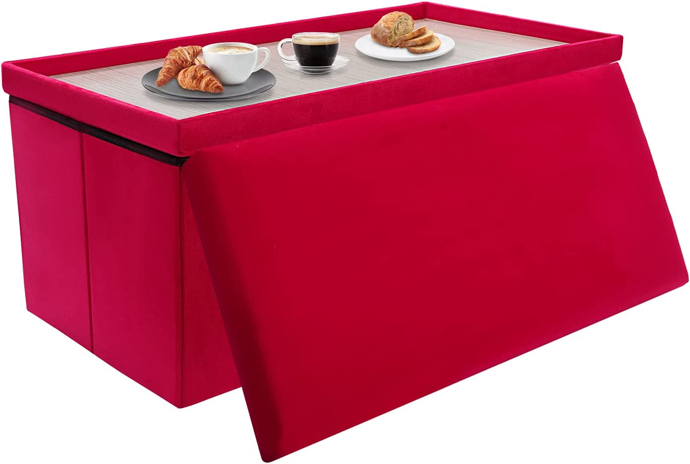 30 inches Folding Regular half store Storage Velvet RV Table Ottoman with Dr Coffee