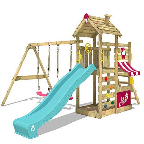 WICKEY Parque infantil de madera CherryFlyer con columpio y tobogán turquesa, Torre de escalada de exterior con arenero y escalera para niños