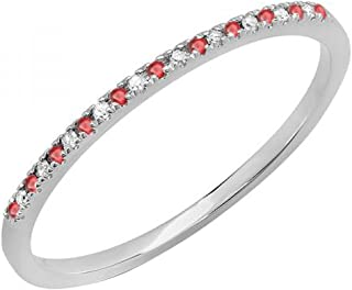 10K Gold Round Ruby & White Diamond Ladies Dainty Anniversary Wedding Band Stackable Ring