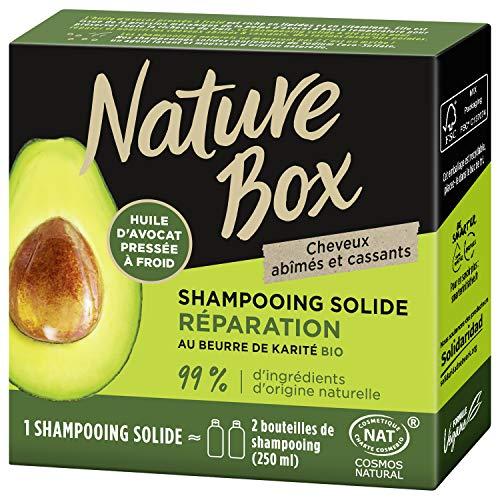 Nature Box – Shampooing Solide Réparation Avocat – Cheveux abîmés et cassants – 85g