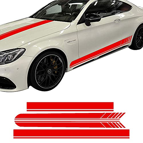TGHYJU Raya del Coche Pegatinas Calcomanía De Vinilo De Rayas Laterales De Carreras De Techo De Capó De Coche para Mercedes-Benz C63 Amg Coupe GT W205 W204 C43