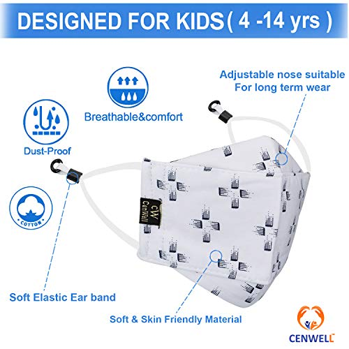 CENWELL 5 Pcs Kids 3D Cotton Mask Reusable Washable Breathable Fabric Mask with Meltblown filter ,Adjustable Earloops & Ear Saver Strap for Boys Girls Children Gift, Cute Designer Mask, Face mask