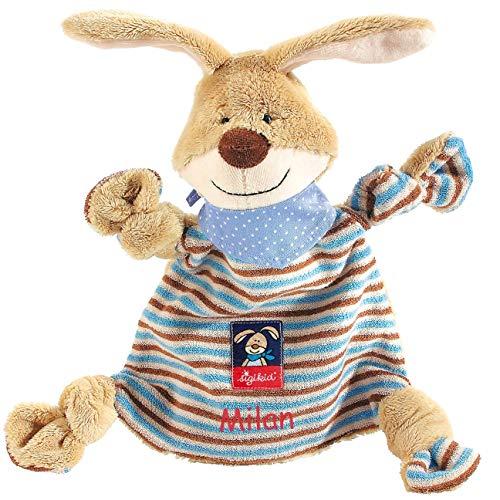 Sigikid Schnuffeltuch Hase mit Namen Bestickt, Baby & Kinder Schmusetuch personalisiert, Kuscheltuch Geschenkidee Junge / Mädchen, Semmel Bunny, Braun / Blau, 47893