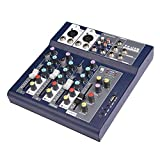 fosa Mixing Console Mini 3-Channel Sound Card Mixing Console Digital Audio Mixer 3-Band EQ USB U Disk AUX Output 100-240V Powered for Home Studio Recording DJ Network Live Broadcast Karaoke(Black)
