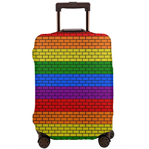 Cheap Lgbt Rainbow Flag Color Brick Block Stack Travel Luggage Cover Suitcase Protector Washable Bag...