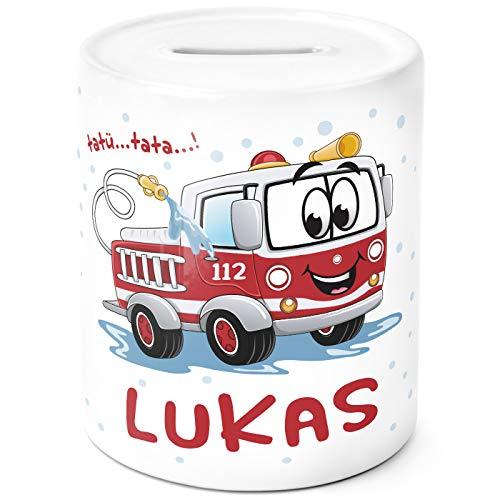 SpecialMe® Kinder Spardose mit Namen personalisierbar Feuerwehr-Auto Sparschwein Keramik weiß Unisize