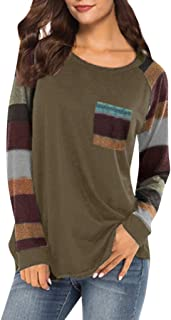 Women Stripe Sleeve Patchwork Casual Top T-Shirt Loose Long Sleeve Pocket Top Blouse