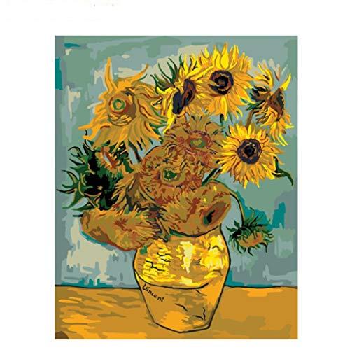 Pintar por numeros Van Gogh - Pintura para Pintar por números con Pinceles y Colores Brillantes - Cuadro de Lienzo con numeros Dibujados para Adultos y niños - Van Gogh (Girasol, 40x50cm)
