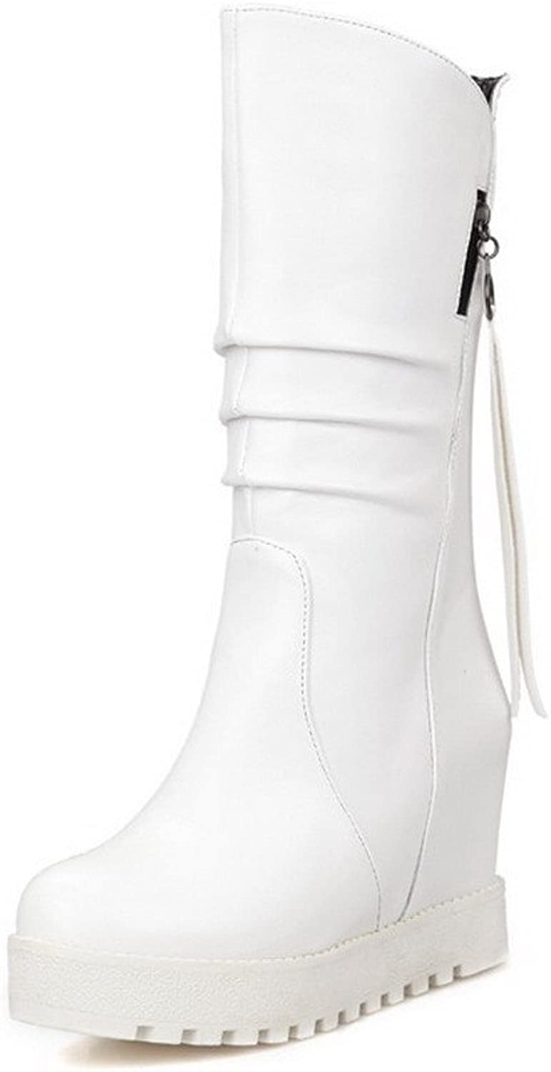 WeiPoot Women's High Heels Soft Material Low-top Solid Pull-on Boots