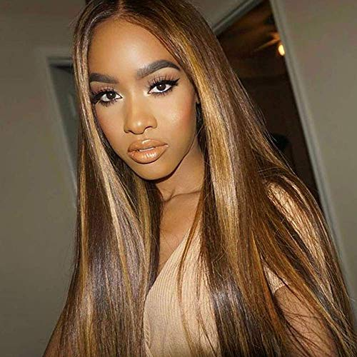 JNM Soft Hair 13x6 Deep part Lace front Wigs Glueless Lace Human Hair Wigs Highlight Ombre Color Wigs Brazilian Remy Straight Wig 150% Density (14Inch, #2/27 Color)