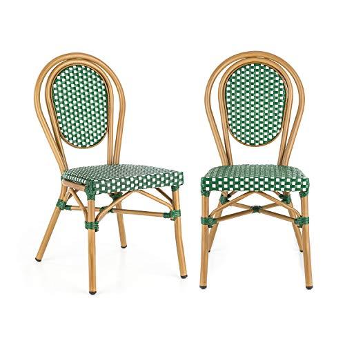 blumfeldt Montpellier GR Stuhl Bistrostuhl - stapelbar, Aluminiumrahmen, Polyrattan, Beine mit Pulverbeschichtung, einfache Reinigung, wetterfest, grün