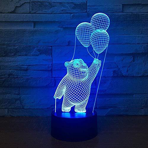 3D LED ilusión lámpara noche luz 16 colores regulable USB Powered Touch regalo para niños con remoto pequeño oso poner un globo