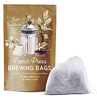 """The Original French Press Brewing Bags - 50 Easy Fill Fine Mesh Disposable Coffee Filters For Your French Press Coffee Maker - Perfect for Mason Jar Cold Brew, Beer Hops, Tea, 6""""x4"""" White"""