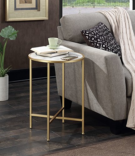 Convenience Concepts Gold Coast Faux Marble Round End Table, Gold / Faux Marble