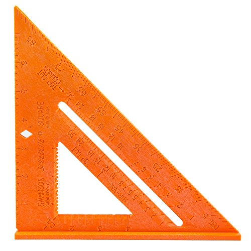 Swanson Tool Co T0118 Composite Speedlite Square Layout Tool, Orange, made of High Impact Polystyrene