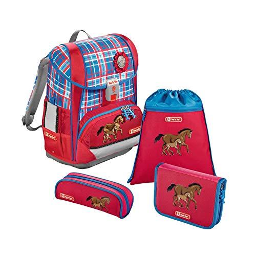 """Step by Step Schulranzen-Set Light """"Horse Family"""" 4-teilig, blau-rot, Pferde-Design, ergonomischer Tornister mit Reflektoren, höhenverstellbar für Mädchen 1. Klasse, 18L"""