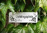 B2S BACK2SEASON Metall Tafel Lieblingsplatz weiß aufhängen Schild Blüten Schriftzug Schild Muttertag Gartendekoration Wandschild Türschild Edelrostdeko antik Nostalgie L25 cm