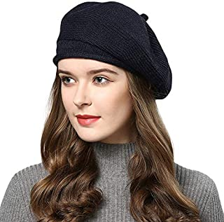PLOVZ Womens Beret Hat Cap, Wool Beanie for Autumn and Winter