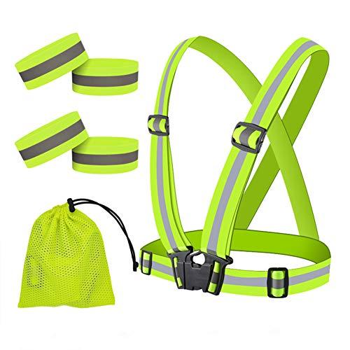 QLOUNI 4pcs Chaleco Reflectante de Seguridad Fluorescente para Moto,Bici,Correr y M/ás