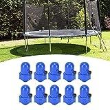 Durchmesser Blaue Trampolin-Gehäusekappenkappen, 10-teilige Trampolin-Mastkappen Trampolin-Gehäusekappenkappe mit Schraubendaumen-Sicherheitsschienenkappenzubehör