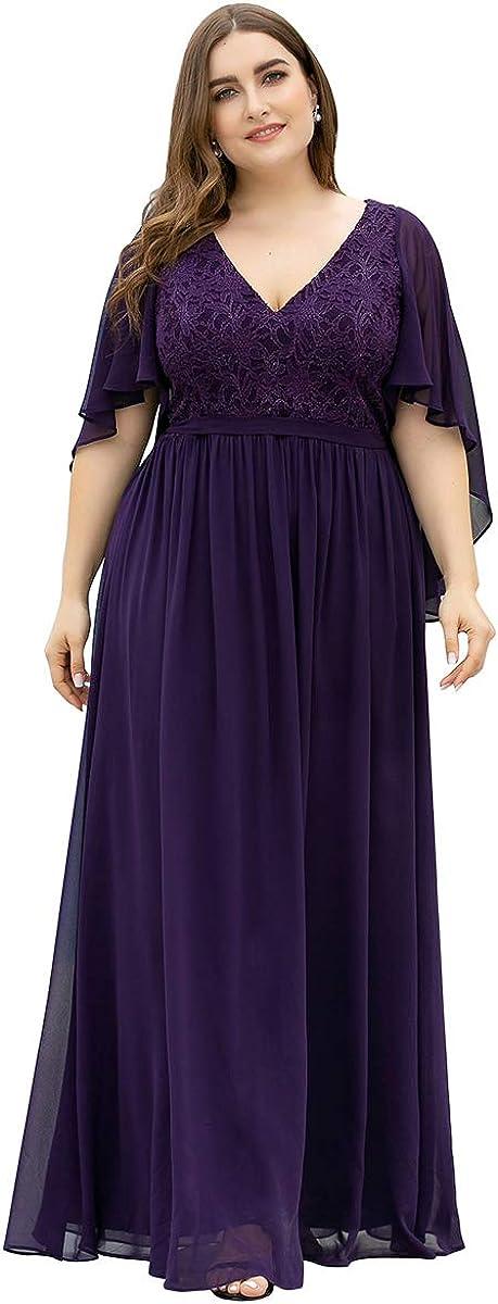 Ever-Pretty Plus Size Maxi Chiffon Formal Evening Dress Bridesmaid Dress Wedding Guest Dress 0640-PZ