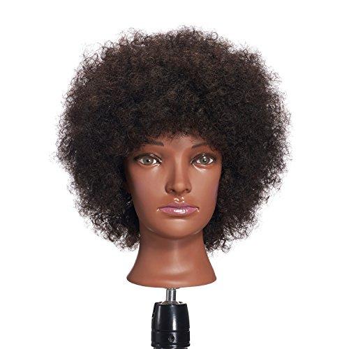 Hairginkgo 100% Human Hair Mannequin Head Hairdresser Training Head Manikin Cosmetology Doll Head (92092B0210)