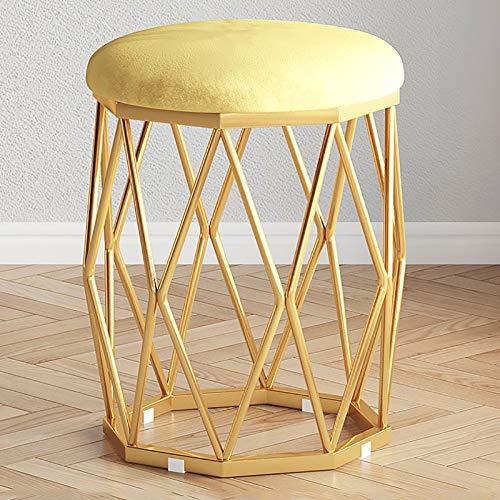 ZHIQ Sgabello Rotondo da Toeletta in Velluto Poggiapiedi Ottomano, Tavolino da Salotto Sedia da Toeletta, Sedile Decorativo con Gambe in Metallo 33x33x43cm