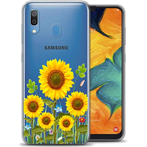 Unov Galaxy A20 Case Clear with Design Soft TPU Shock Absorption Slim Embossed Flower Pattern Protective Back Cover for Samsung Galaxy A20 A30 6.4 inch (Sunflower Blossom)