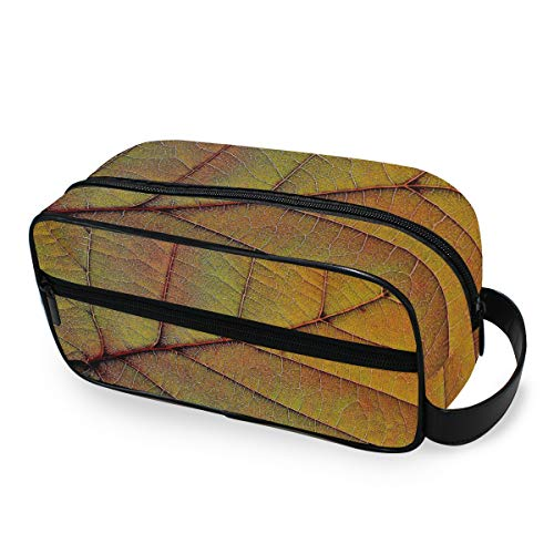 Portable Purse Toiletry Pouch Storage Maquillage Sac Voyage Leaf Texture Tools Cosmetic Train Case