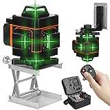 Nivel láser 16 líneas 360 grados horizontal vertical con base giratoria,Nivelador laser autonivelante,Niveles laser verde profesionales con control remoto