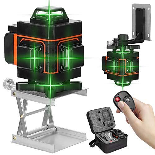 Nivel láser 16 líneas, 360 grados horizontal vertical con base giratoria, Nivelador laser autonivelante,Niveles laser verde profesionales con control remoto