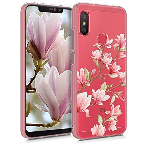 2018 Carcasa de TPU con Colgante Magnolias Rosa Claro//Blanco//Transparente kwmobile Funda con Cuerda Compatible con Huawei Y6