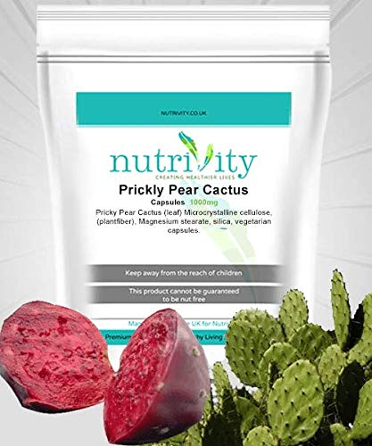 Prickly Pear Opuntia Cactus 1000mg Veggie Capsules with Silica by Nutrivity (30)