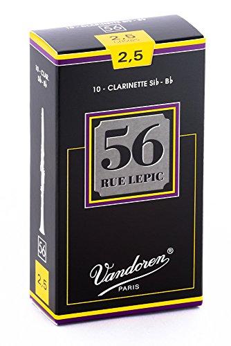 Vandoren 56 Rue Lepic - Caja de 10 cãnas para clarinete, fuerza 2.5