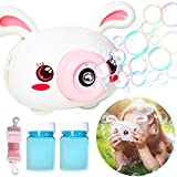 PROLOSO Electric Bubble Machine with Strap Lights and Music Animal Cartoon Bubble Maker Blower Camera for Kids Indoor Outdoor Summer Pool Fun (Rabbit)