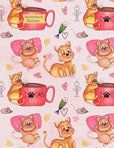 Stickerbuch Katzen: Stickeralbum leer, Sticker Sammelalbum, extradickes Stickerheft Luftballons