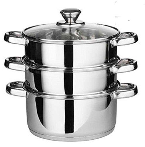 Generic Dampfgarer 24cm 4Herd Topf-Set Pfanne Kochen Lebensmittel Glas Deckel 3Etagen Edelstahl geeignet für Gas- und Elektroherde und solide Kochplatten Marke hohe Qualität