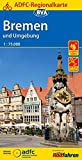 ADFC Regionalkarte Bremen und Umgebung mit Tagestouren Vorschlägen, 1:75.000, reiß  und wetterfest, GPS Tracks Download: Mit Weser Radweg, von Hoya bis Bremerhaven (ADFC Regionalkarte 1:75000)