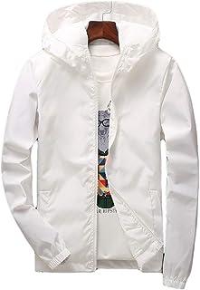 Dawwoti Men's Windbreakers Active Coat, Solid Color Windproof Hooded Winter Jacket Lightweight Windbreakers Spring Fall Ja...