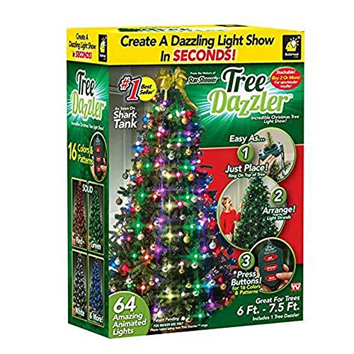 CYCPACK Christmas Tree Decorative Light Garland Tree Dazzler Lamp Multicolor Indoor 64 LED Bulbs Hanging Lights Xmas Tree Lantern String Festival Party Fixture