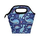 Divertidos dinosaurios de dibujos animados Bolsa de almuerzo azul Tote Lunchbox Bolso, Contenedor de alimentos con aislamiento para mujeres Gourmet Cooler Warm Pouch LBG-345