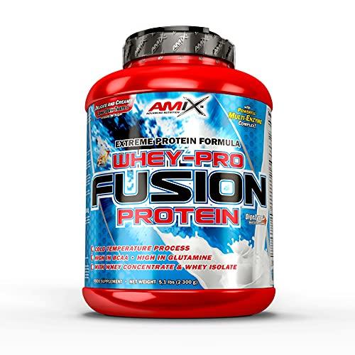 AMIX, Proteína Whey, Pure Fusión, Concentrado de Suero Ultra Filtrado, Sabor a moca, chocolate y café, Proteínas para Aumentar Masa Muscular, Proteína Isolada con Splenda, Contiene L-glutamina, 2,3 Kg