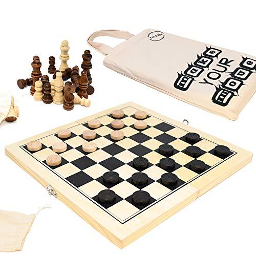 Big Game Hunters Juego de madera de ajedrez y corrientes de aire portátil de 30 x 30 cm, tabla plegable con piezas de pino superior