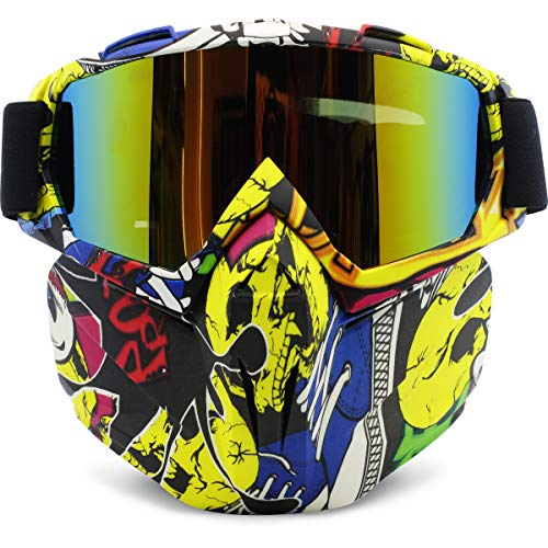 Motorcycle Goggles Removable Face Mask, PP PICADOR Detachable Motocross Dustproof UV Protective Sports Goggles for Dirt Bike, Road Racing, ATV Helmet,Adult,Youth(Multicolor)